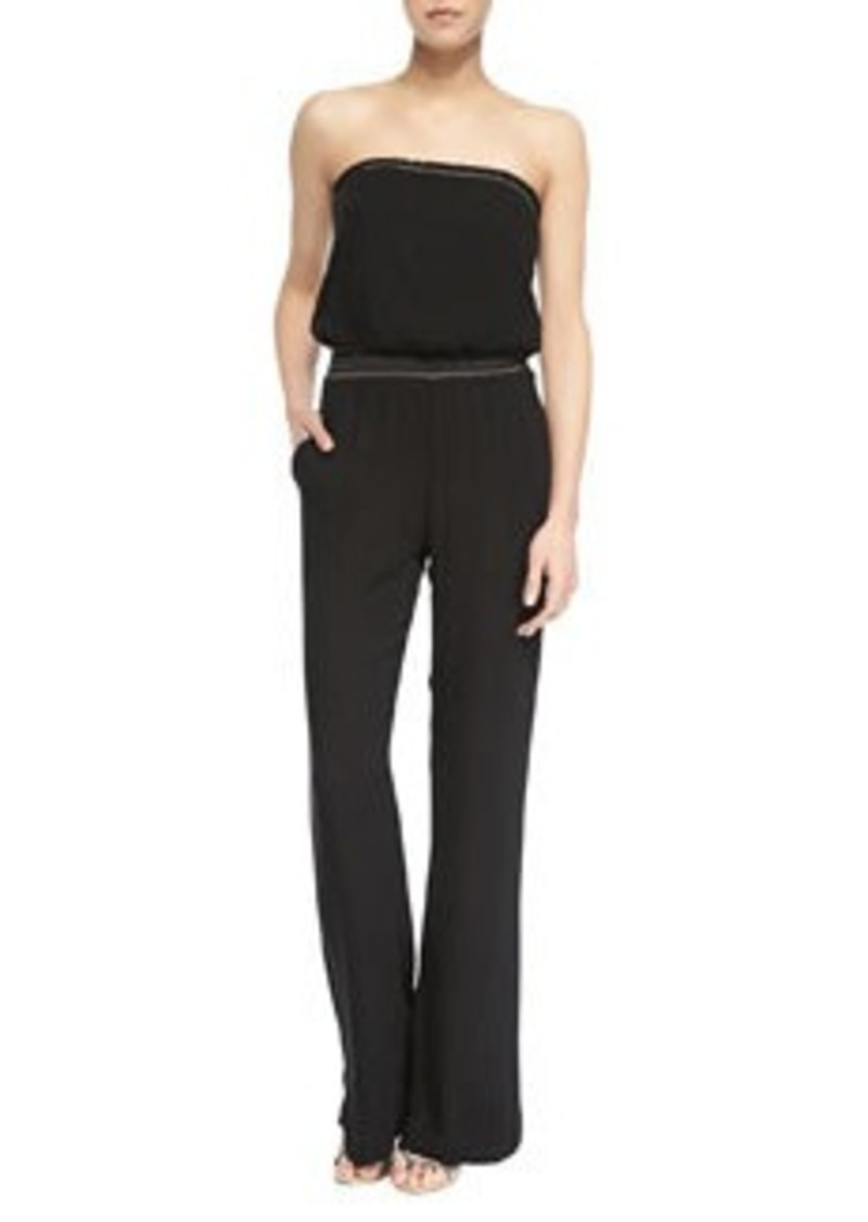 Ella Moss Strapless Woven Trimmed Jumpsuit, Black