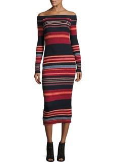 Ella Moss Striped Off-the-Shoulder Ribbed Midi Dress