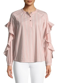 Ella Moss Striped Ruffled Long-Sleeve Henley Cotton Top