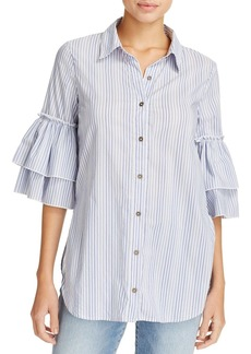 Ella Moss Striped Tiered-Sleeve Shirt