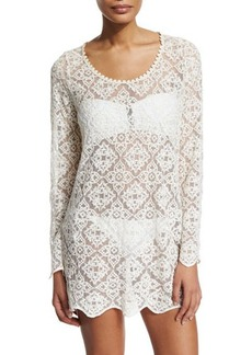 Ella Moss Swim Stella Embroidered-Lace Sheer Tunic