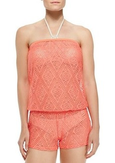 Ella Moss Swim Strapless Diamond Lace Romper