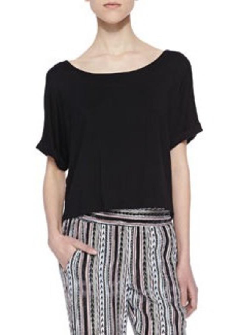 Ella Moss Tali Short-Sleeve Cropped Top, Black