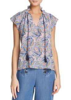 Ella Moss Tasseled Floral-Print Top