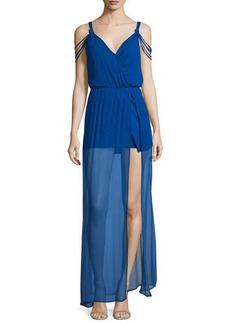 Ella Moss The Goddess Sheer-Hem Silk Maxi Dress