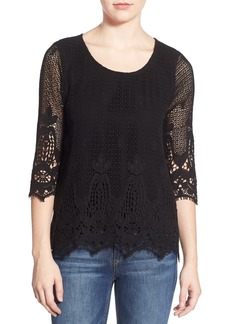 Ella Moss 'Thistle' Crochet Three-Quarter Sleeve Top