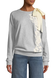 Ella Moss Tie-Shoulder Long-Sleeve Pullover Sweatshirt