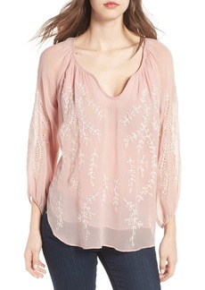 Ella Moss Trellis Vine Embroidered Peasant Top