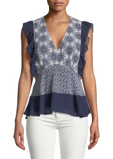 Ella Moss V-Neck Fitted Ruffle Top
