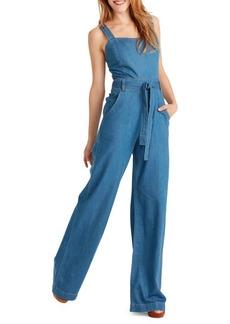 Ella Moss Wide Leg Belted Denim Jumpsuit