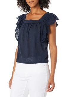 Ella Moss Women's Alina Eyelet Flutter Sleeve Knit Top  XSmall