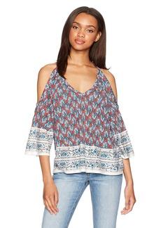 Ella moss Women's Bordeaux Tapestry Cold Shoulder Blouse  XS