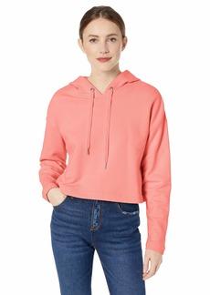 Ella Moss Women's Elise Crop Hooded Sweatshirt with Sharkbite Hem Strawberry ice X Large