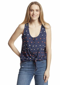 Ella Moss Women's Jennifer Button Up Tie Front Tank Top