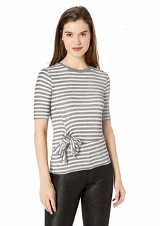 Ella Moss Women's Khloe Striped Tie Front Short Sleeve Tee Shirt