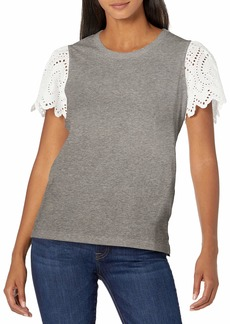Ella Moss Women's Maisie Eyelet Flutter Sleeve High Low Knit Top