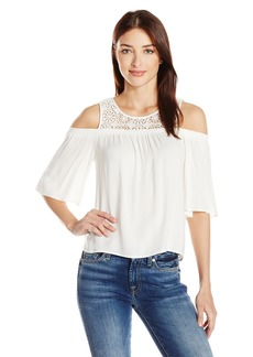 Ella Moss Women's Medallion Crochet Cold Shoulder Blouse  M