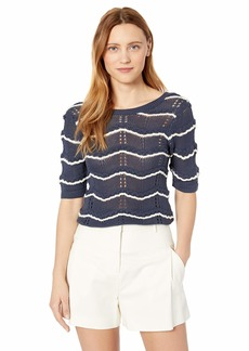 Ella Moss Women's Nina Short Sleeve Pointelle Sweater  XLarge