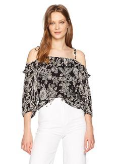 Ella Moss Women's Ria Floral Cold Shoulder Blouse  M