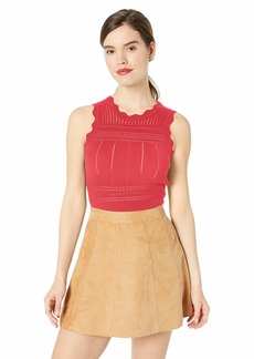 Ella Moss Women's Rose Scalloped Sleeveless Sweater Top  XLarge