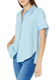 Ella Moss Women's Shirby Pretty Tie Sleeve Button Down Shirt