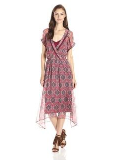 Ella moss Women's Tangier Printed Silk Chiffon Handkerchief Hem Dress