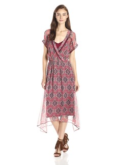 Ella Moss Women's Tangier Printed Silk Chiffon Handkerchief Hem Dress