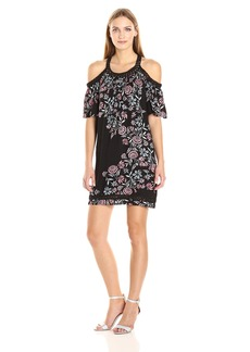 Ella Moss Women's Wanderer Floral Cold Shoulder Dress  S