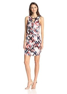 Ella moss Women's Zia Ikat Print Jersey Dress with Faux Leather Trim