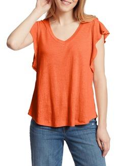 Ella Moss Gemma Flutter Sleeve Linen Blend Shirt