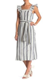 Ella Moss Stacy Striped Button Linen Blend Midi Dress