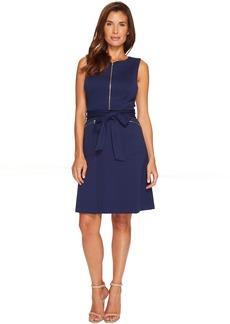 A-Line Ponte Dress with Zipper Detail and Waist Tie