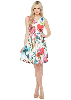 Ellen Tracy A-Line Printed Scuba Dress with V-Neck