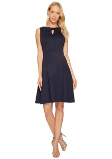 Ellen Tracy A-Line Scuba Dress with Keyhole Detail