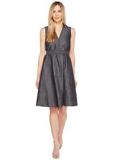 Ellen Tracy Belted Fold Dress