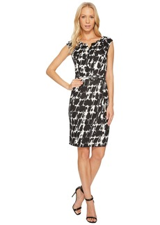 Ellen Tracy Black and White Printed Sheath Dress