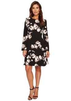 Ellen Tracy Cloque Long Sleeve Flounce Dress