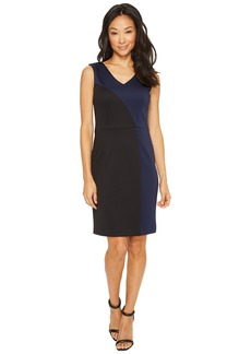 Ellen Tracy Color Block Dress with V-Neck