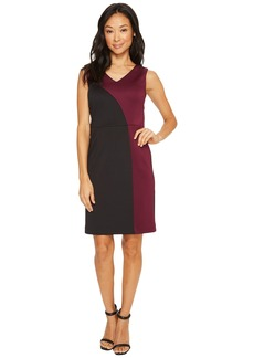 Ellen Tracy Color Block Dress with V-Neck