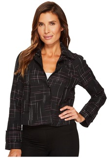 Ellen Tracy Contrast Stitch Detail Tweed Jacket
