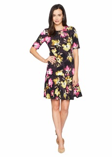 Ellen Tracy Elbow Sleeve Dress with Handkerchief Hem