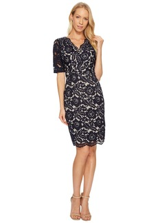 Ellen Tracy Elbow Sleeved Lace Dress with V-Neck and Nude Lining