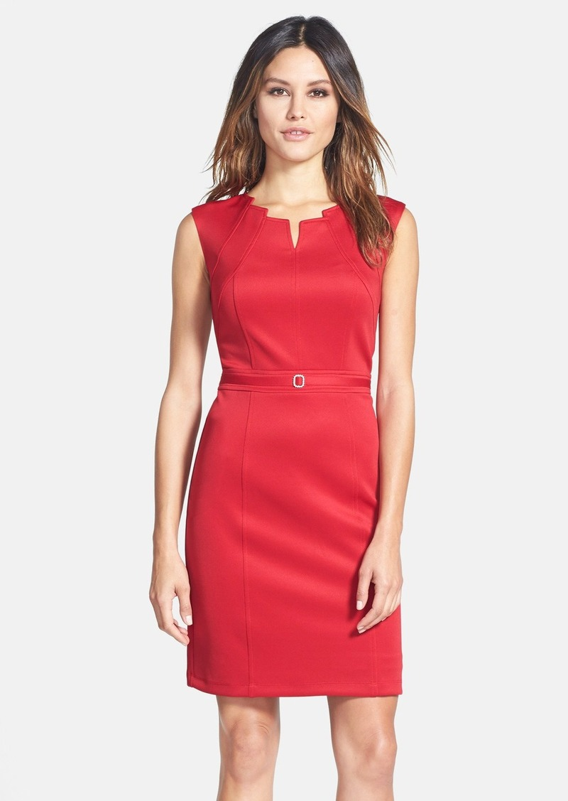 Ellen Tracy Angular Neckline Scuba Sheath Dress