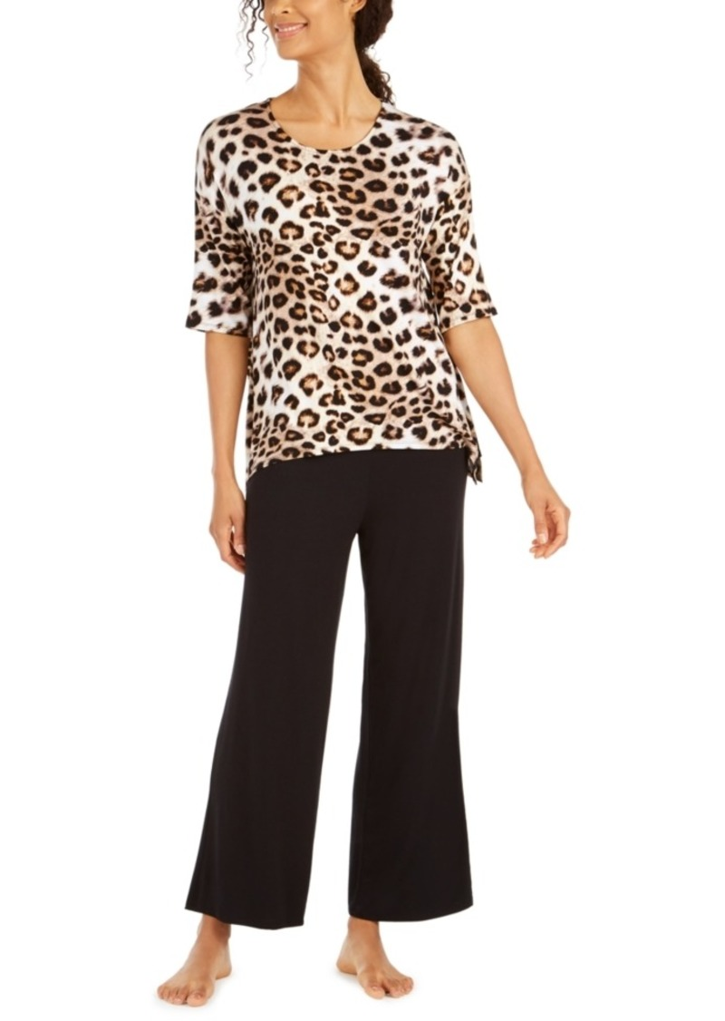 Ellen Tracy Animal-Print Top & Palazzo Pant Pajama Set