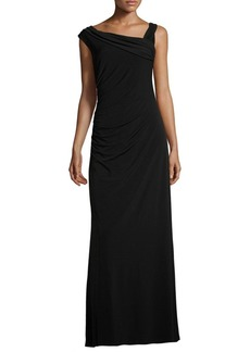 Ellen Tracy Asymmetrical Neck Gown