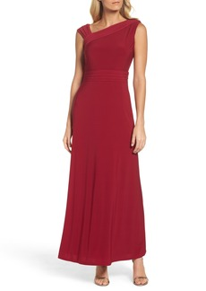 Ellen Tracy Asymmetrical Neck Jersey Gown