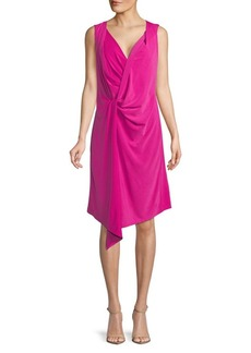 Ellen Tracy Asymmetrical Twist-Front Dress