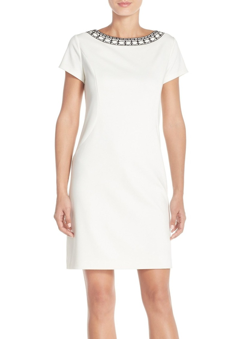 Ellen Tracy Beaded Neck Ponte Sheath Dress