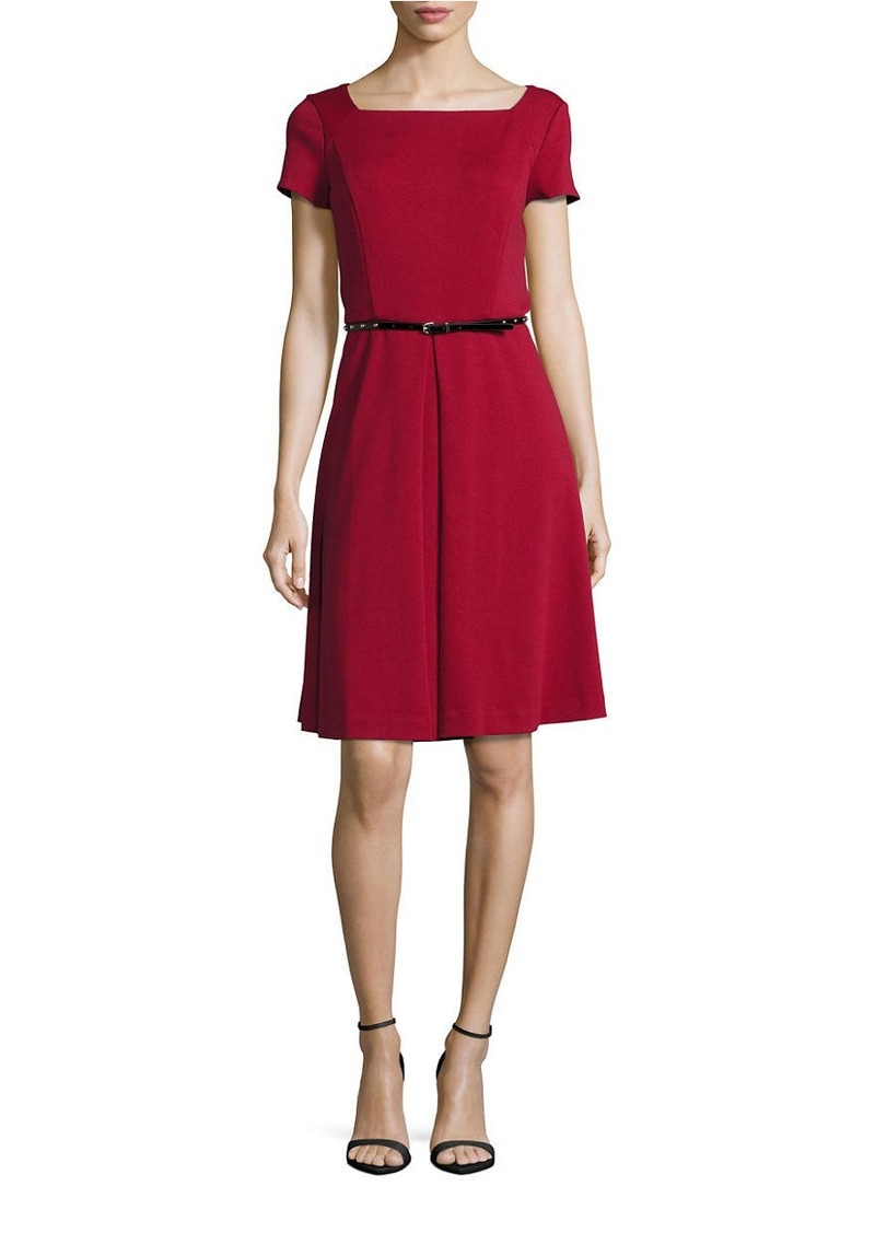 ELLEN TRACY Belt Waist Pleated Dress