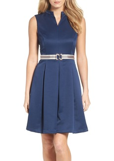Ellen Tracy Belted Fit & Flare Dress